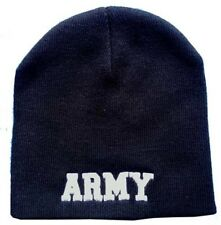 "8"" U.S. Army Letters Military Black Embroidered Beanie Skull Cap Hat 601D"