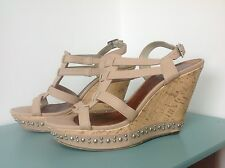MODA IN PELLE BEIGE SIZE 41 8 CORK WEDGE HEEL SANDLE SHOES HOLIDAY CRUISE PARTY