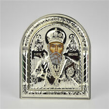 Religious Holy St Nicholas Saint Silver Plated Metal Standing Plaque
