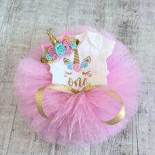 Baby Girls 1st Birthday Unicorn Party Tutu Dress Romper Heardband Summer Outfits