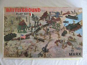 Vintage Marx WWII U.S. & German Battleground Play Set #4756 VG