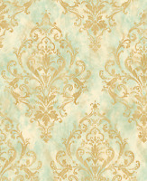 Damask Wallpaper in Gold Green with hints of Blue and Cream Victorian Arts Craft
