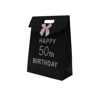 Paper Sweet Cake Bag Pouch Candy Boxes Happy Glitter 50th Birthday Party