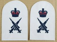 Pai of Embroided Royal Navy Missileman Trade Qualification Patches Badges