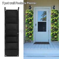 7 Pocket Vertical Wall Greening Hanging Planter Plant Bag Flower Grow Pot Garden