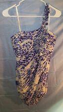 BCBG MAX AZRIA One Shoulder Blue Gathered Silk Rosette Cocktail Dress sz 6 NWT
