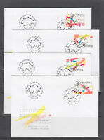 Switzerland Sc 1012-1015 FDC. 1998 Swiss Bicentennial, cplt set in singles on 4