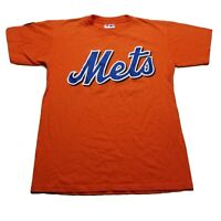 Majestic T-Shirt Mets Adult XL Orange with Blue//White Lettering