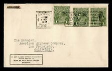 Dr Who 1937 Australia Brisbane To Usa Pair Slogan Cancel C202858