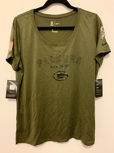 Nike Salute to Service Women's Green Bay Packers Performance T-Shirt Size XL