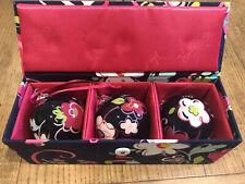 Vera Bradley Glass Ornaments Trio 3 Ribbons Keepsake Box Set