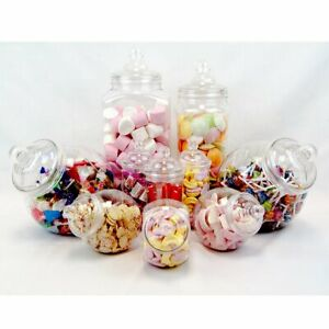 Plastic Sweet Jar 10 Pack Assorted Sweetie Party Containers Kitchen Canister