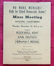 ROCKWELL KENT 1938 NO MORE MUNICHS! RALLY FOR UNITED DEMOCRATIC ACTION - RARE