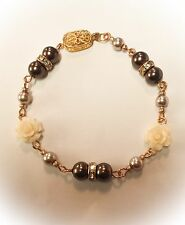 Brown & Cream  Bracelet. with Coral Gemstone  Rose Feature.