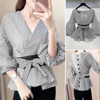 ZANZEA Women Lace Up Stripe Shirt Puff Sleeve V-Neck Irregularity Hem Top Blouse