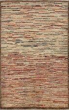 Striped Modern Gabbeh Kashkoli Oriental Area Rug Hand-knotted Contemporary 3x5