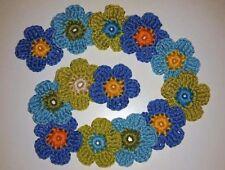 10 Applikationen Häkelblumen 4cm gehäkelt Blüten Aufnäher Blau,Türkis,Anis