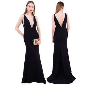 RRP €810 ALEX PERRY Trumpet Gown Size 12 / L Black Tulle Insert Plunge Neck