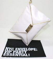CAROLINA HERRERA 212 VIP PARTY ESSENTIAL CREAM/WHITE & GOLD ENVELOPE CLUTCH BAG
