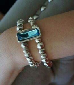 """NWT Uno De 50 Blue Elements Crystal 2 Strand ENCALLADO Silver Bracelet 7"""""""