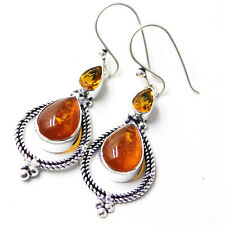 Baltic Amber Citrine 925 Sterling Silver Plated Handmade Jewelry Earring 6 Gm