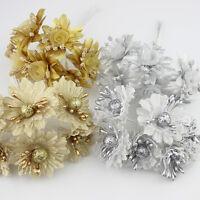 Golden/Silver Glitter flower bouquet ideal Wedding/party Decoration 6 pcs