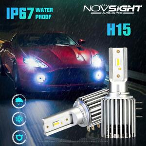 NOVSIGHT Pair H15 60W 10000LM LED Headlight Bulbs DRL Error Free Beam Kit 6500K