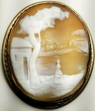Hand Carved Shell-Rebecca At The Well Estate Gf Cameo Pin / Pendant-Natural