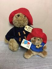 2 Paddington Bears 40th Anniversary Plush Navy and Blue Coat with Tag