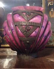 Ancien Vase art nouveau en fer et verre Daum, Nancy et majorelle.