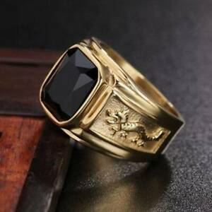 Square Black Diamond Band Ring 18k Gold Jewelry Wedding Party Mens Gift Size6-12