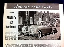 BENTLEY S2 CONTINENTAL -1960 -Road Test from The AUTOCAR