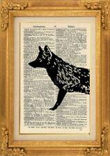 ORIGINAL - Fox Art Print on Vintage Dictionary Page - Wall Hanging NO.576B