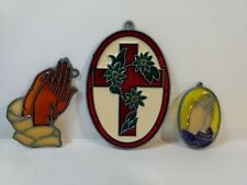Set Of 3 Cross Praying Hands Stained Glass Suncatcher Easter Decoration eas109