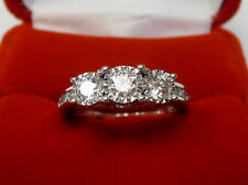 Real Natural 1.13 CT Three-Stone Diamond Engagement Ring 10k White Gold Sz 6.25