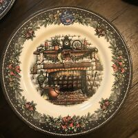 """NEW! Royal Stafford Christmas Eve Fireplace 11"""" Dinner Plate Made in England"""