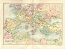 1890 ANTIQUE MAP - CENTRAL EUROPE AND THE MEDITERRANEAN COUNTRIES
