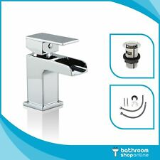 Mini Waterfall Basin Sink Mixer Tap Bathroom Cloakroom Square Chrome Tap