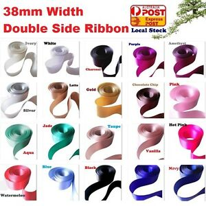 Double Side Satin Ribbon 38mm(3.8cm)Width x 5M Long For Wedding Cars&Satin Bows