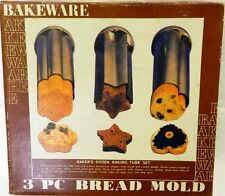 Vintage Baking Tube Mold Set Bake Ware 3 Pc Heart Star Flower Steel Bread Cookie