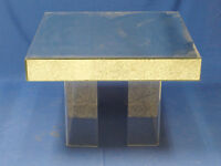 70'S HOLLYWOOD REGENCY GLAM CHIC MIRRORED COFFEE TABLE w/ U CHANNEL LUCITE LEGS
