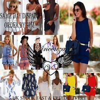Womens Holiday Mini Playsuit Ladies Jumpsuit Summer Beach Shorts All-In-one UK