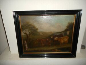Very old oil painting,+- 1840, { Landscape with a woman and cows }. Is antique!