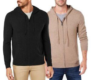 Tasso Elba Men's 100% Cashmere Full Zip Hooded Sweater