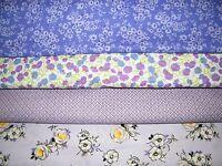 4 FQ Bundle – LAVENDER FLORAL Prints 100% Cotton Quilt Fabric Fat Quarters