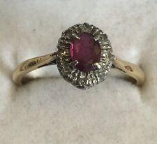 Vintage Solid 18ct Gold Platinum Set Diamond & Ruby Cluster Ring Size O