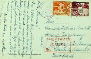 SWITZERLAND 1955 BELVERDERE FURKASTRASSE W/ RHONEGLETSCHER PPC W/ 2v TO GERMANY