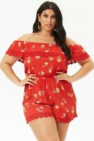 Forever 21 Plus Size Red Floral Print Romper 3X
