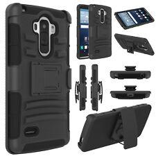 LG G STYLO MS631 H631 LS770 BLACK HARD CASE COVER + BELT CLIP HOLSTER STAND