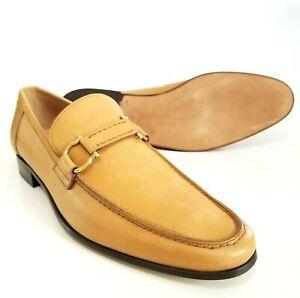 SALVATORE FERRAGAMO Double Gancini Bit Loafers Tan Gold Shoes 8.5 D Please Read